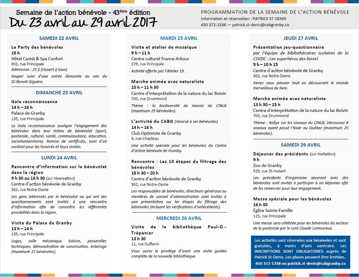 Dépliant SAB 2017 - Activités
